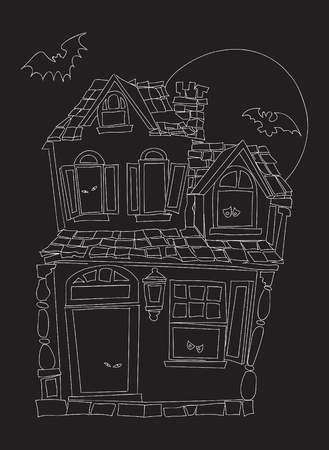 Hand drawn illustration of scary house Vector