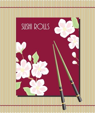 japanese cookery: Menu for sushi rolls Illustration