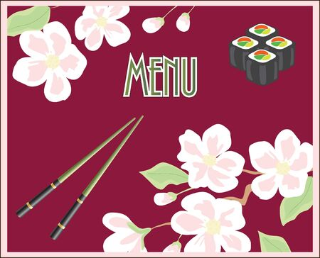 recipe decorated: Menu for sushi and rolls
