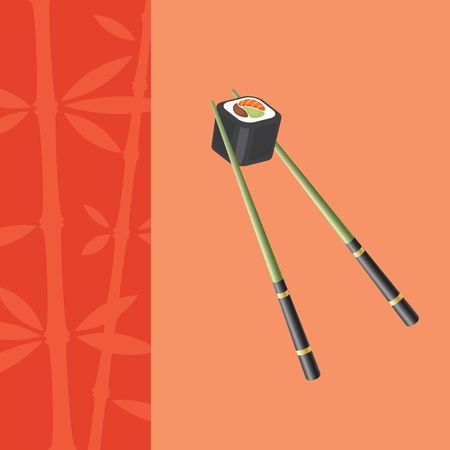 japanese cookery: Blank background with chopsticks, holding roll