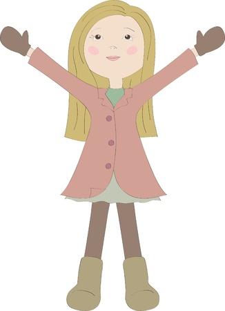 Happy little girl Stock Vector - 10928462