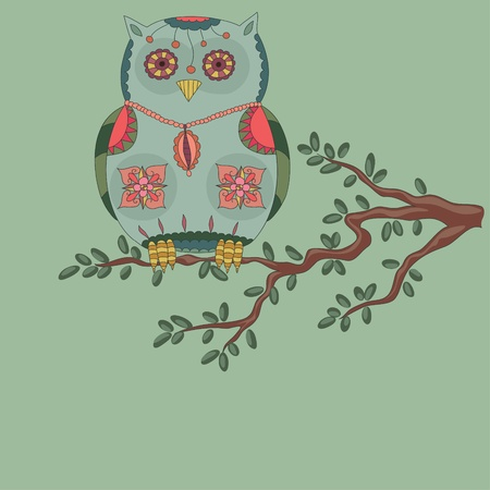 owl illustration: Owl on a tree Illustration