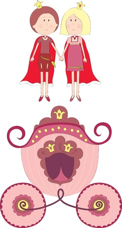 royal person: Princess, prince and carriage Illustration