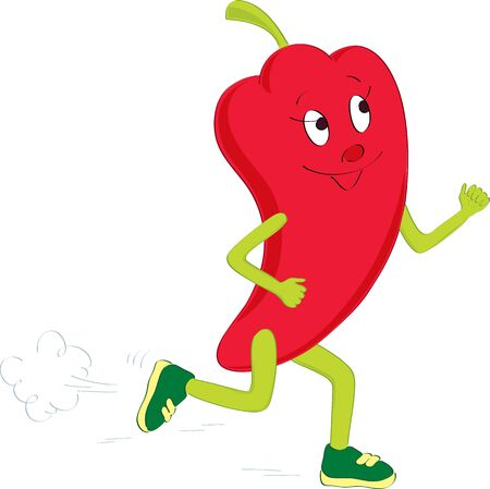 Running and smiling red pepper