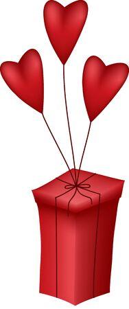 Tre cuori rossi con scatola rossa Archivio Fotografico - 11007231