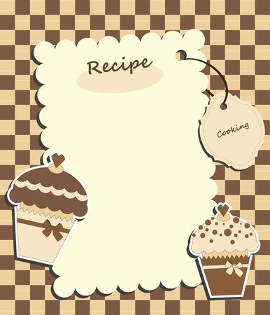 cupcake illustration: Brown card with muffins Illustration