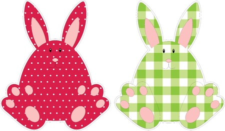 ear checked: Cute dotted and checked bunnies