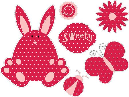 sweety: Dotted cute bunny and red dotted elements