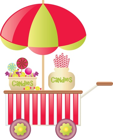sweet shop: Dulces carro Vectores
