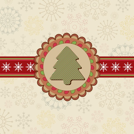 Nice winter background with Christmas tree Stock Vector - 11160191