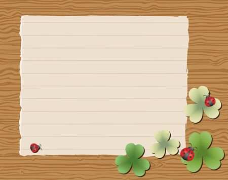 Wooden background with blank paper with leaves and ladybugs Vector