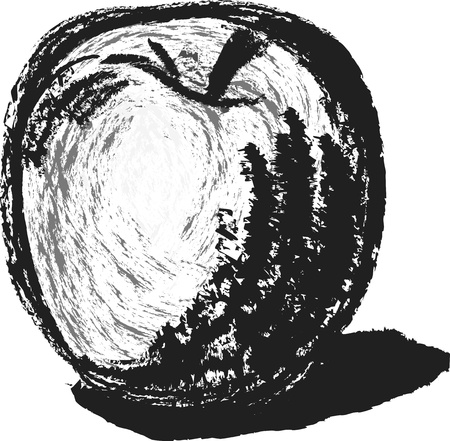 charcoal': Hand drawn apple by charcoal pencil