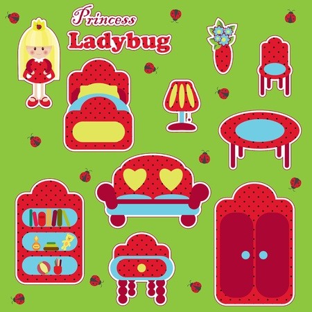 Princess Ladybug furniture set Vector