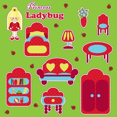 bedside: Princess Ladybug furniture set Illustration