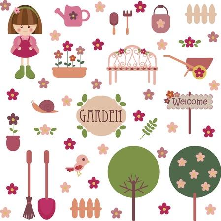 Cute girlish garden set Stock Vector - 11160214
