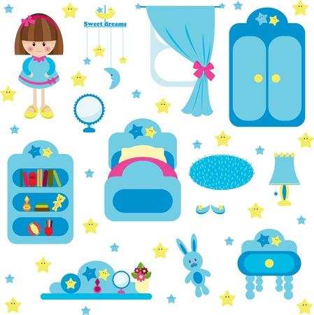 dream: 對於女孩的藍色家具集 向量圖像