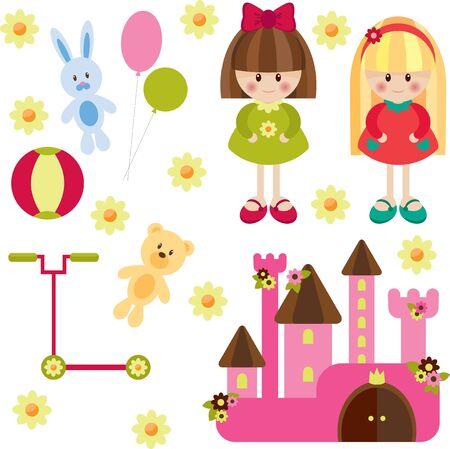 Speelgoed voor meisje, geïsoleerd Stock Illustratie