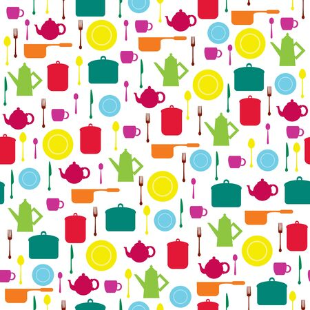 Bright seamless wallpaper with dishes