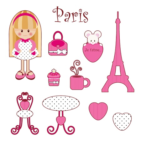cupcakes isolated: Cute pink girlish set. Paris