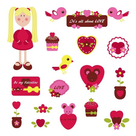Cute set for Valentines Day Vector
