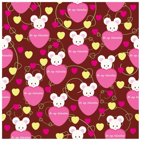 Seamless wallpaper pattern with cute mouse for Valentines Day Vector