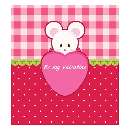 Valentines Day card with little mouse Vector