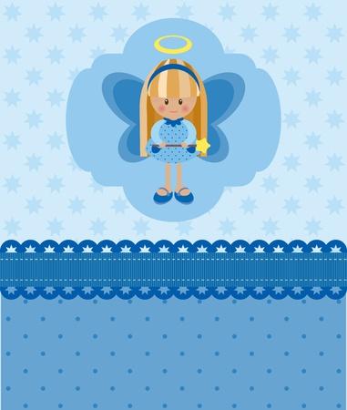 Blauwe blanco kaart met engel