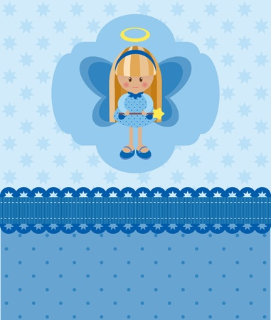 angel girl: Blue blank card with angel