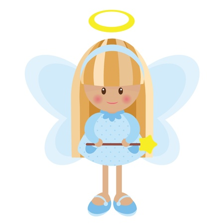 girl: Cute angel girl isolated Illustration