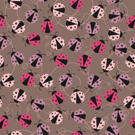 Seamless wallpaper with ladybugs