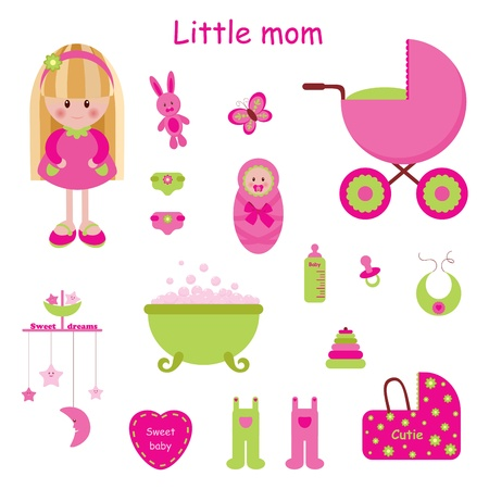 cute baby girls: Girlish set. Little mom