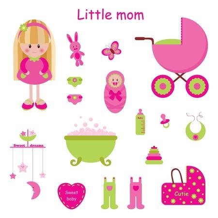 mobil: Meisjesachtige set. Little moeder Stock Illustratie