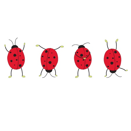 Four funny ladybugs. Hand drawn illustration