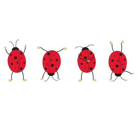 ladybug cartoon: Four funny ladybugs. Hand drawn illustration
