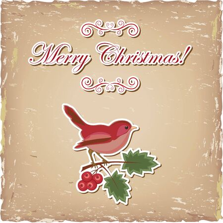 Vintage paper with greetings and bird Vector