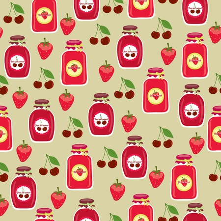 Seamless background with jars of jam Çizim