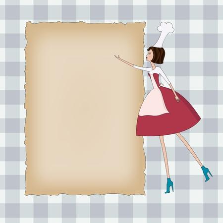 Fondo a cuadros con papel en blanco y una mujer hermosa Chef Foto de archivo - 11529668