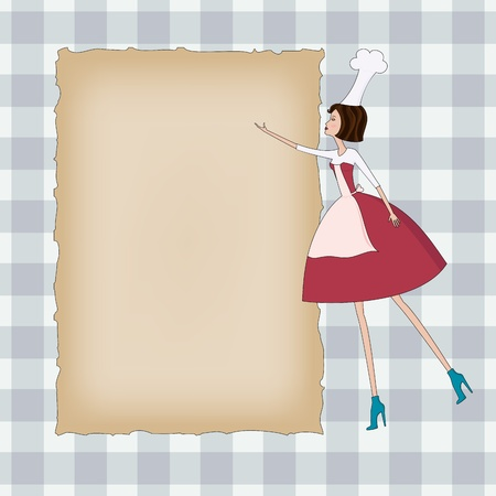 Checkered background with blank paper and beautiful chef woman