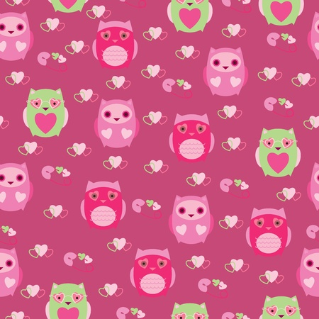 Seamless wallpaper with cute owls Ilustracja