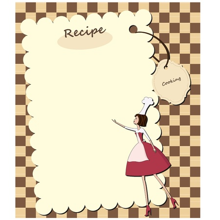 commercial kitchen: Blank recipe card with chef woman Illustration