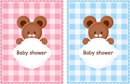 Tarjetas de bienvenida al bebé para niño y niña Foto de archivo - 11901420