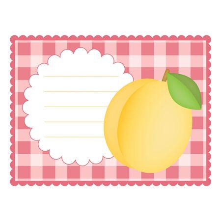 살구와 빈 체크 무늬 카드 스톡 콘텐츠 - 11901428