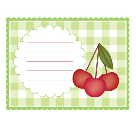 Blank checkered card with cherry Stock Illustratie