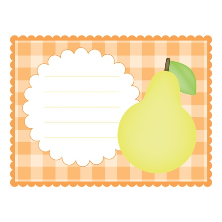 Blank checkered card with pear 일러스트