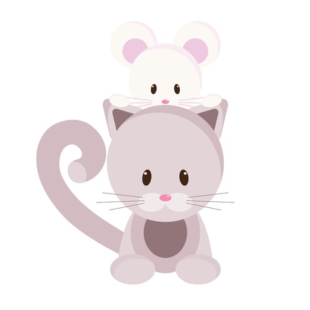 mouse: Cartoon kitten and mouse