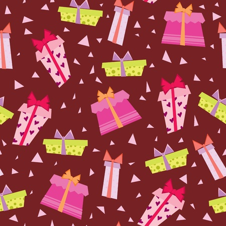 Seamless wallpaper with gift-boxes Vector