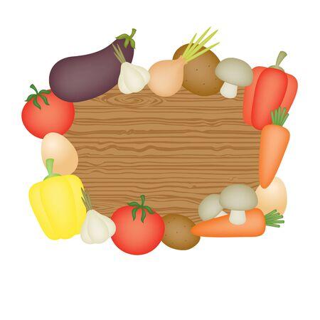 wooden desk: Wooden desk and vegetables