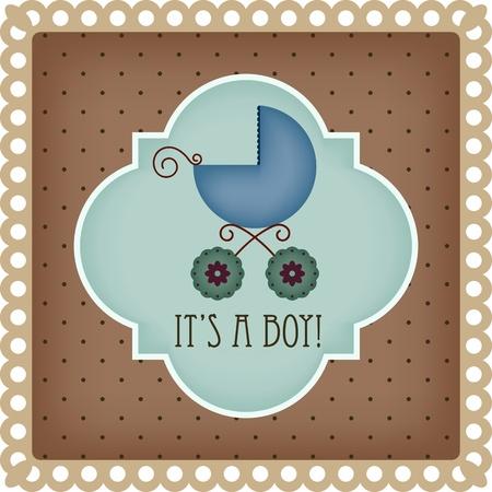 perambulator: Bambino carta di arrivo per il ragazzo Vettoriali