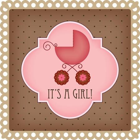 Baby arrival card for girl Stock Illustratie