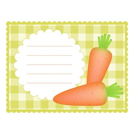 Blanco geruite kaart met wortelen